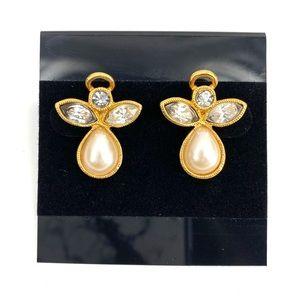 Vintage Avon Angel Crystal Pearl Post Earrings